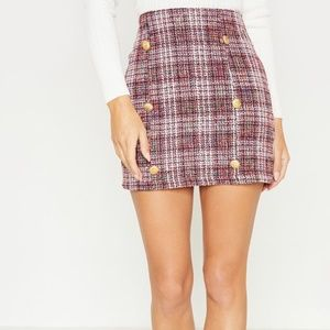 PrettyLittleThing Skirts - PrettyLittleThing NWT Red Tweed Button Mini Skirt